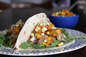 Tuesday Night Dinner: Spicy Pork Tacos with Peach & Corn Salsa