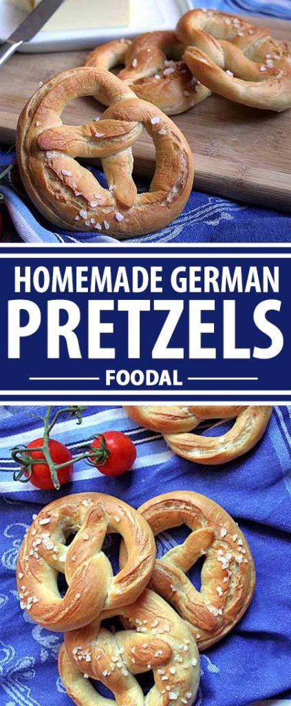 A collage of photos showing different views of German pretzels.