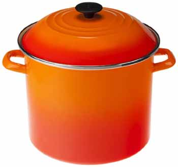 Volcano Flame was the first color produced by Le Creuset in 1925, and it  was chosen to reflect the intense orange shade of molten iron seen inside a  foundry ...