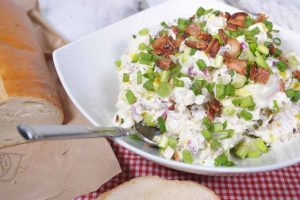 Ultimate Loaded Potato Salad with Bacon, Feta Cheese, and Sour Cream