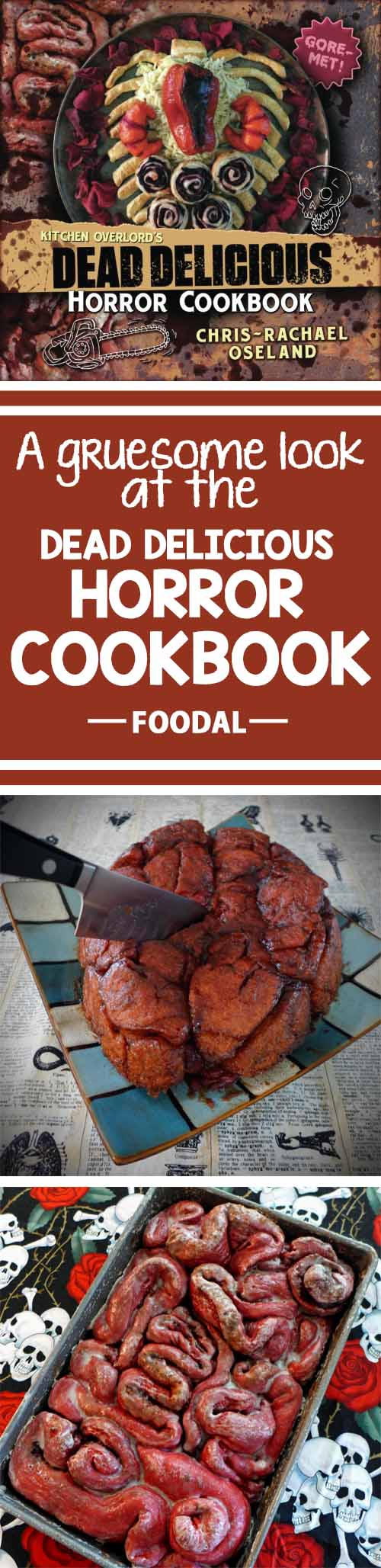 Looking to take your Halloween cooking game to the next level with gruesome treats that are sure to creep out your guests? You'll love this book! Check out our review and get Chris-Rachel Oseland's recipe for Beet Monkey Bread Brains now on Foodal. http://foodal.com/kitchen/general-kitchenware/recipe-books/dead-delicious-horror-cookbook/