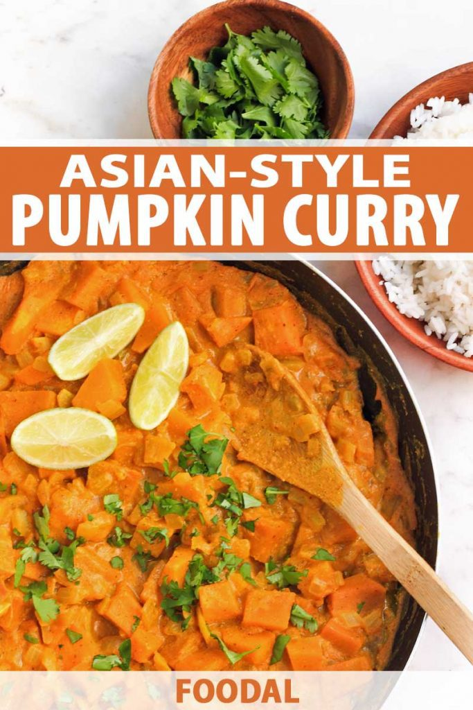 Top down view of a pan full of Asian-style pumpkin curry. A bowl of basamit rice sits to the right.