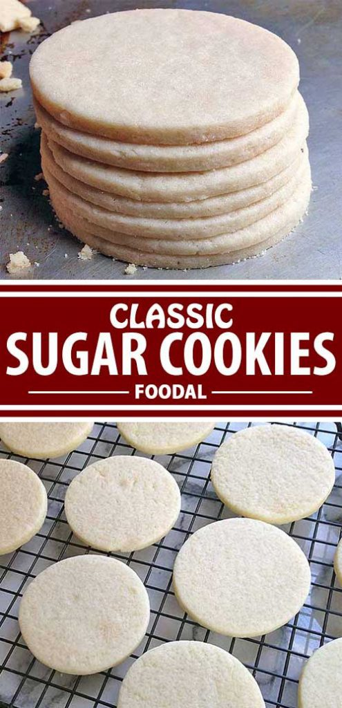 A collage full of different views of a classic sugar cookies.