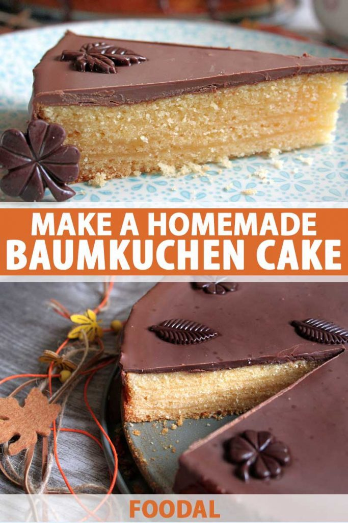 Collage of two photos showing the layers of a homemade German Baumkuchen cake.