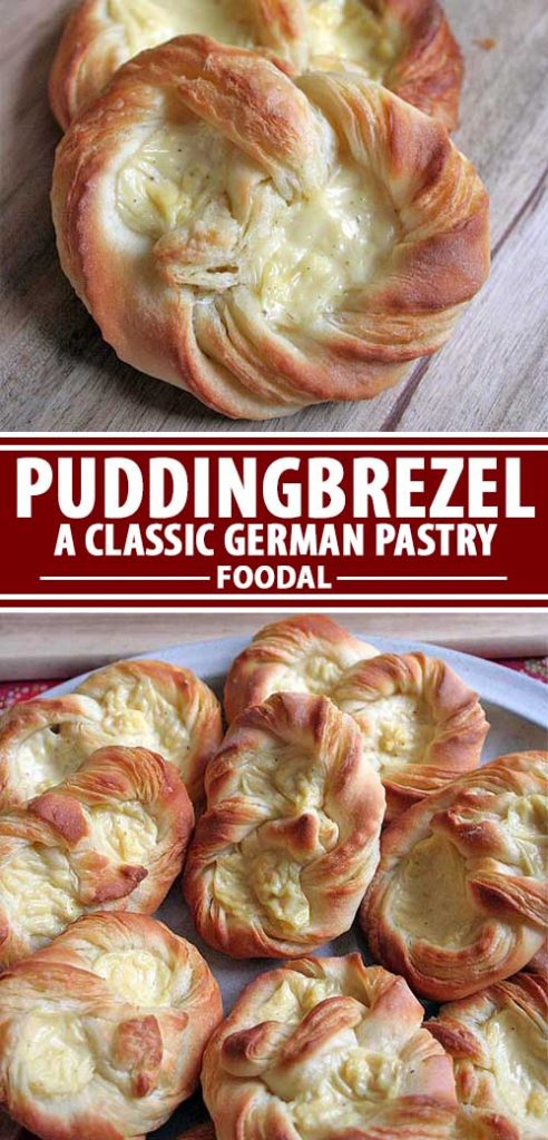 A collage of photos showing different views of a German puddingbrezel recipe.