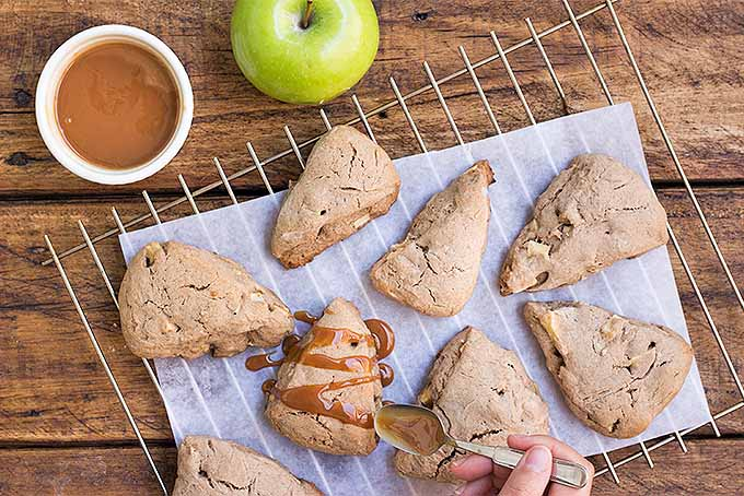 Drizzling Caramel on Apple Scones | Foodal.com