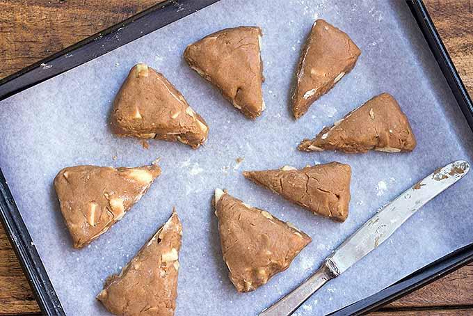 Cutting Caramel Apple Scone Dough into Wedges | Foodal.com