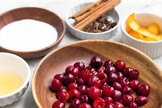 Prepped Ingredients to Make Maraschino Cherries | Foodal.com