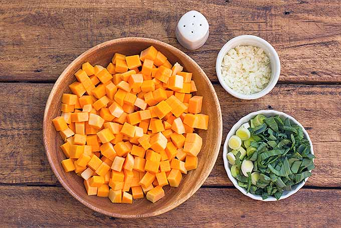 Prepped Butternut Squash, Garlic, and Leeks | Foodal.com