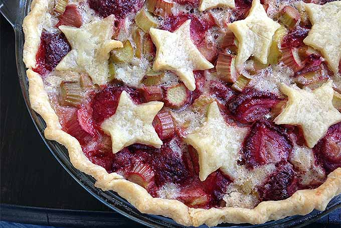 Strawberry Rhubarb Pie with Decorative Stars