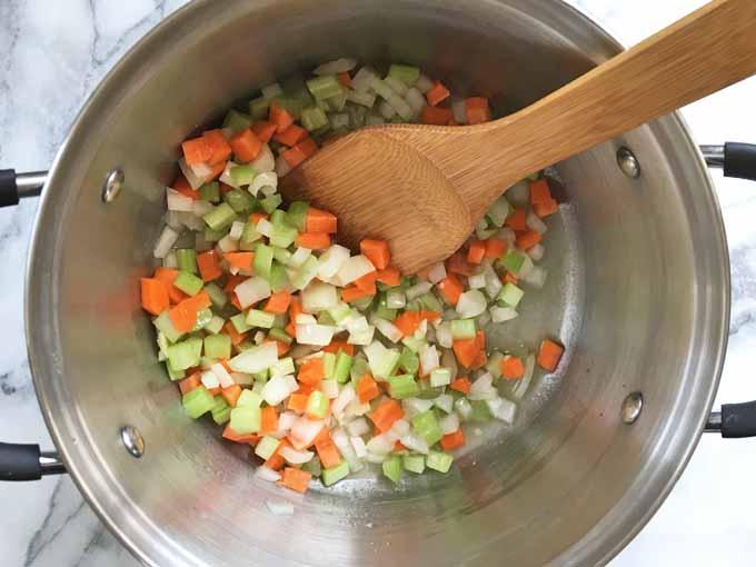 Gnocchi Chicken Soup Recipe Step 2 – Sauté the Veggies