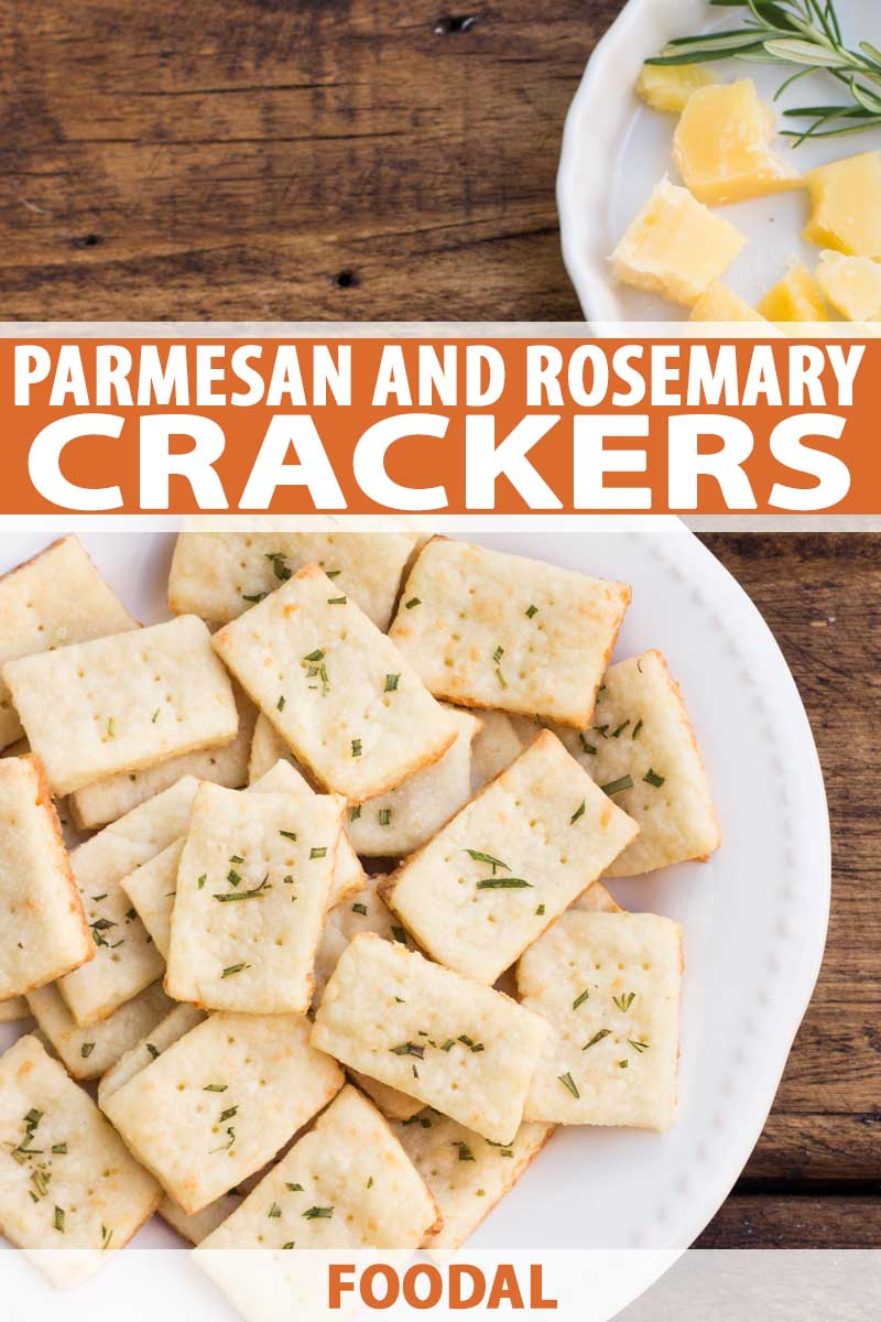 Top down view of a white porcelain platter full of homemade Parmesan cheese and rosemary crackers.