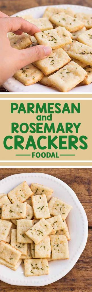 A collage of photos showing different views of homemade Parmesan and rosemary crackers.