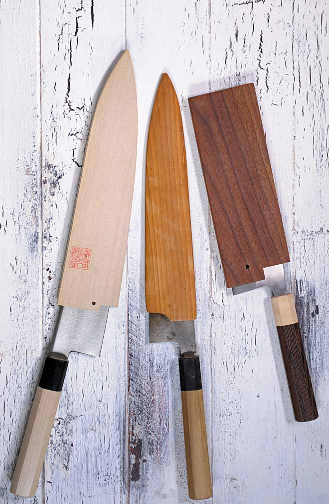 "Japanese kitchen knives outfitted with a traditional ""Wa"" handle, often are outfitted with wooden sheaths calle ""sayas."""