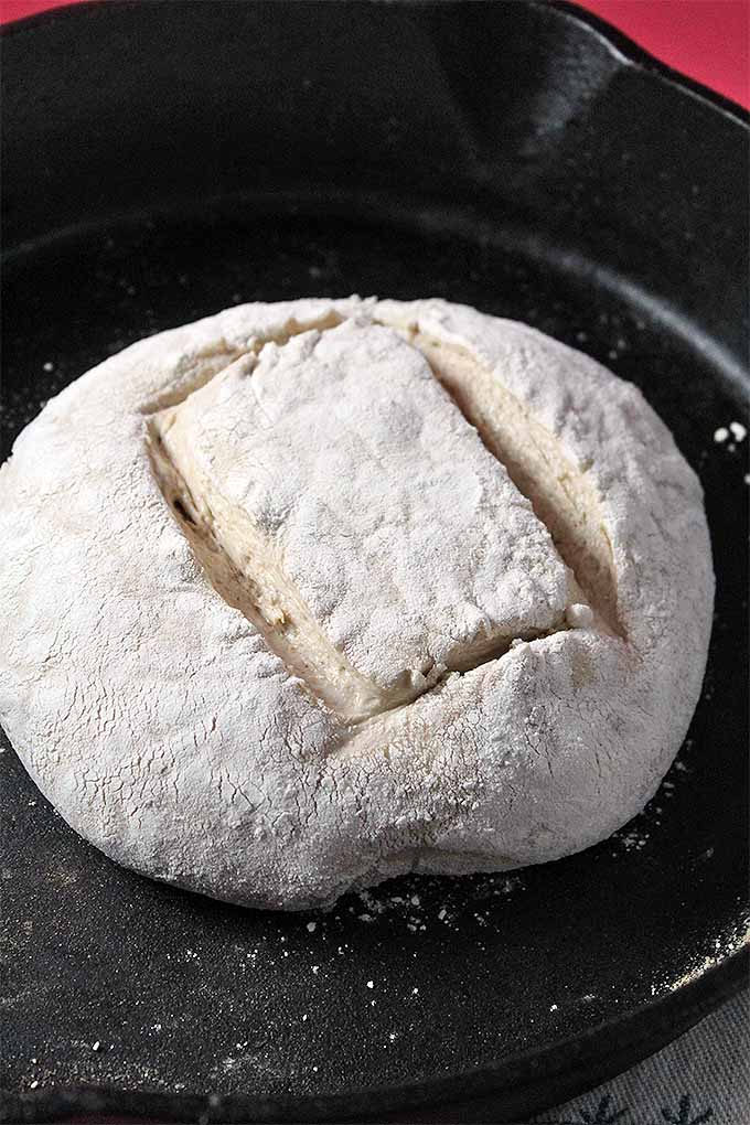 A round ball of floured bread dough with a rectangle shape sliced into the top, in a large cast iron pan.