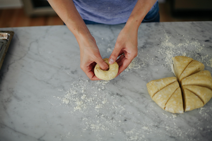 shaping dough into bagels