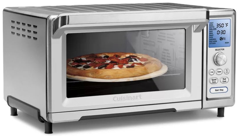 Oblique view of the Cuisinart TOB-260N1 Stainless Steel Chef's Convection Toaster Oven on a white, isolated background.