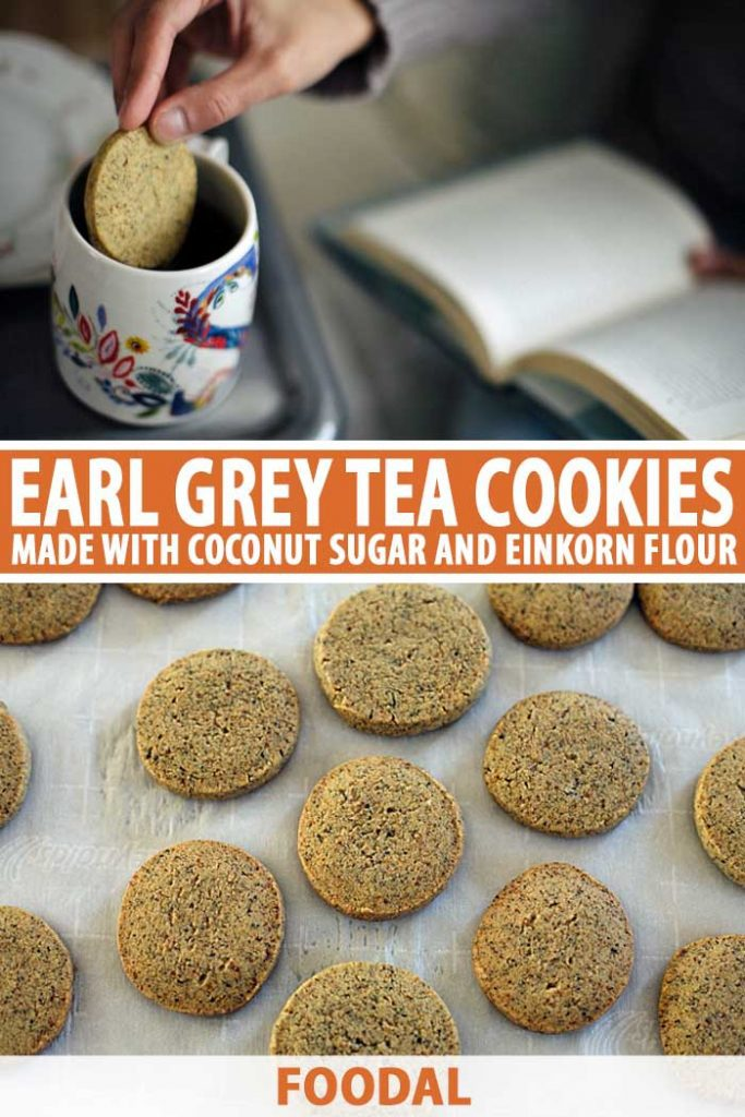 A collage of photos showing different views of Einkorn Earl Grey Tea Cookies.