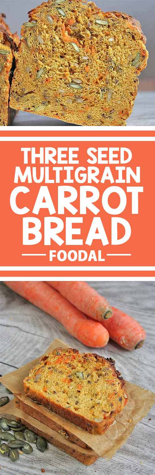 This moist and wholesome bread is perfect for everyday eating, packed with nutrients from healthy seeds and fresh carrots. And it's super versatile, too - you'll love it with sweet spreads like jelly or honey as well as savory sandwich fillings like cheese and coldcuts.