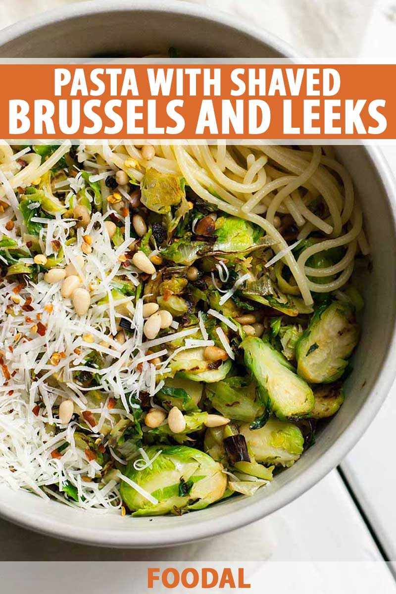 Top down view of a bowl full of spaghetti noddles topped with shaved Brussels sprouts, leeks, and pine nuts.
