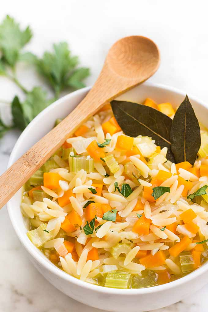 Tender orzo pasta in a tangy, soup that is filled with vegetables and the refreshing taste of lemon. This comforting dish is perfect for the cold weather! Get the recipe here: https://foodal.com/recipes/soups/lemon-orzo-soup