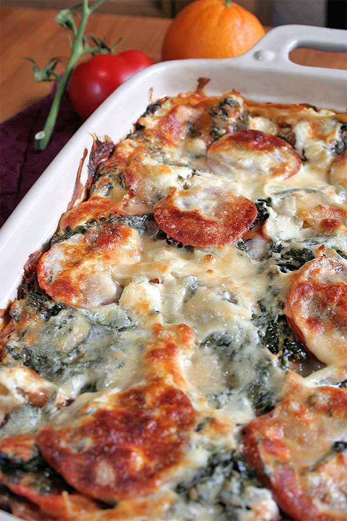 Golden brown cheese, tangy tomato sauce, spinach, parmesan, onion, garlic, and thyme - plus a secret ingredient! Check out this delicious twist on a classic recipe now or pin it for later: http://foodal.com/recipes/pasta/spinach-lasagna/
