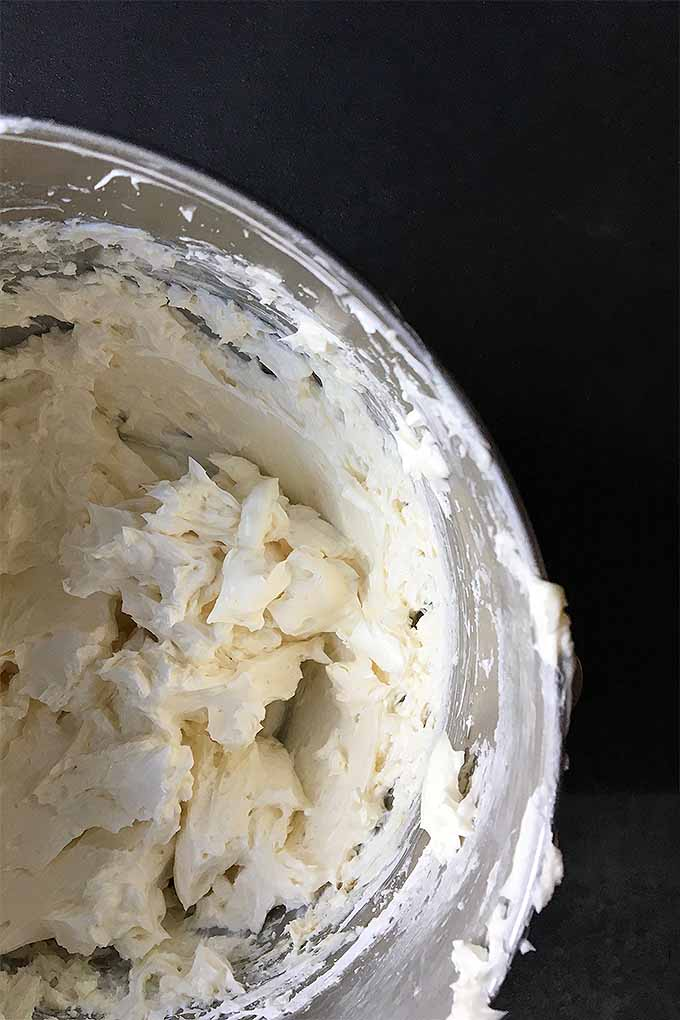 A completed Swiss meringue buttercream, still fresh from the mixing bowl