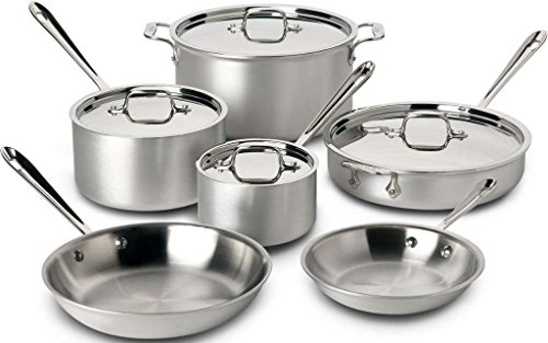 All Clad 700508 Master Chef 2 Stainless Steel Tri Ply Bonded 10 Piece Cookware Set Silver