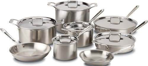 All Clad Bd005714 Brushed D5 Stainless Steel 5 Ply Bonded Dishwasher Safe 14 Piece Cookware Set Silver Available From