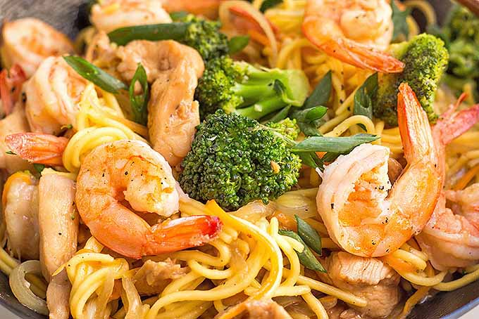 Homemade lo mein with chicken, shrimp, and vegetables | Foodal.com