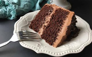 A slice of freshly made chocolate cake | Foodal.com