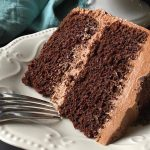 A thick slice of chocolate cake with chocolate buttercream | Foodal.com