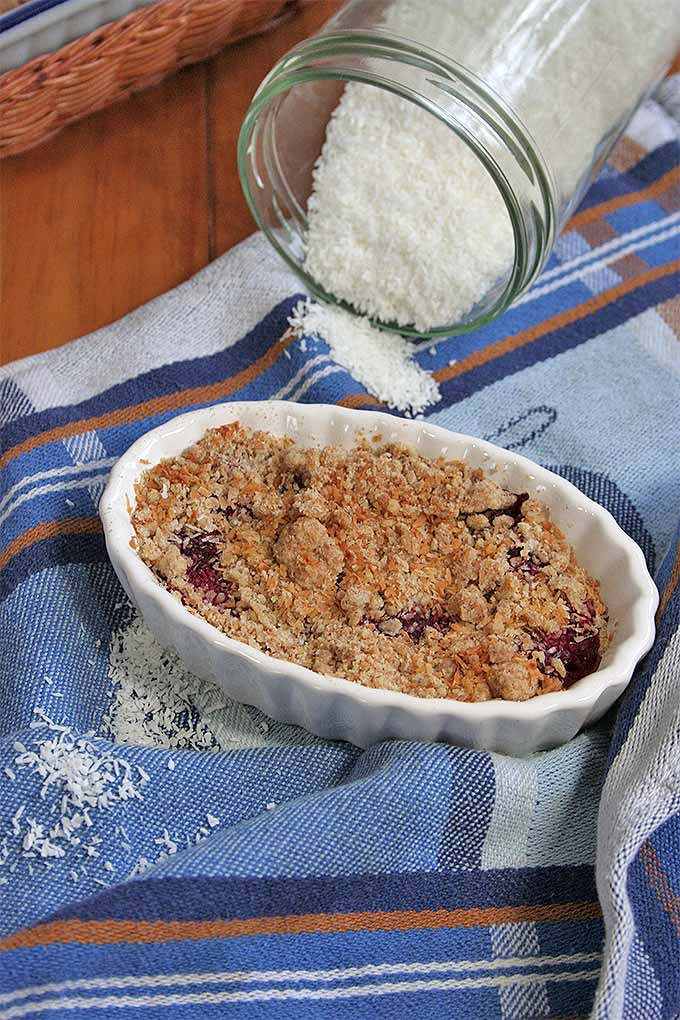 Add coconut to your crumble topping (or your favorite add-ins) to make this simple fruit crumble for dessert. We share the recipe: https://foodal.com/recipes/desserts/the-easiest-and-tastiest-fruit-crumble-ever/