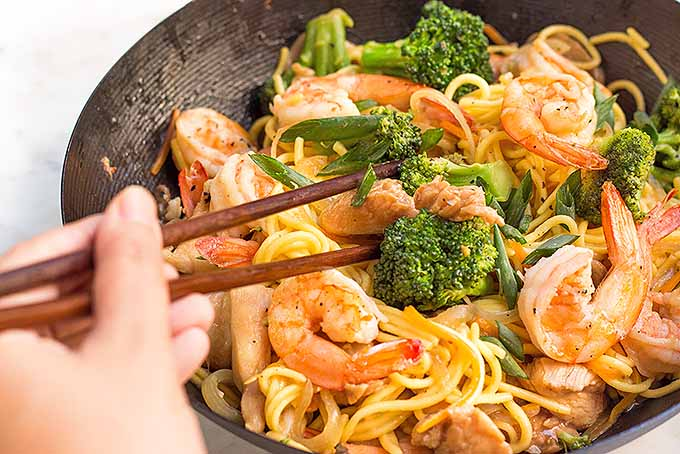 One pan dinner a special chicken and shrimp lo mein foodal diving into a bowl of chicken and shrimp lo mein foodal forumfinder Images