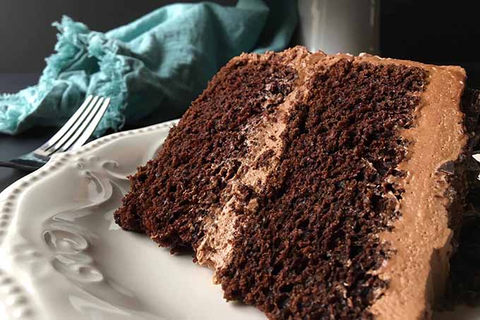 Large slice of homemade chocolate cake | Foodal.com