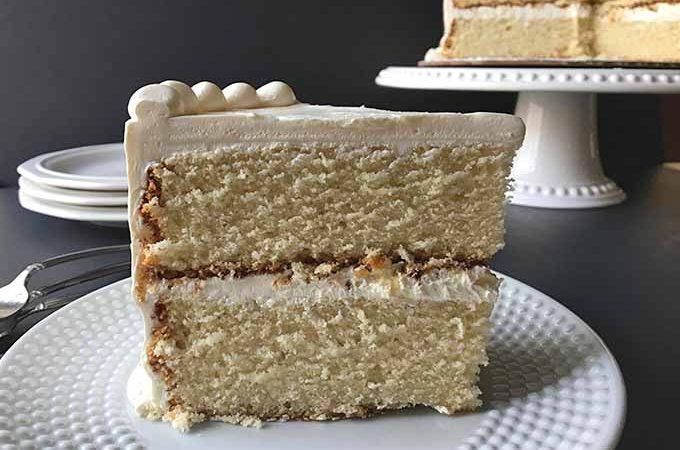 Slice of two-layered very vanilla cake   Foodal.com