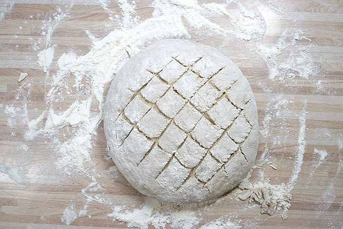 Dark rye bread dough is scored on the top to create a beautiful surface design. | Foodal.com