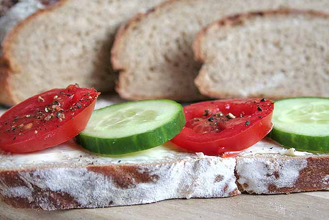 Topping off homemade dark rye bread with butter, tomatoes, and cucumbers. | Foodal.com