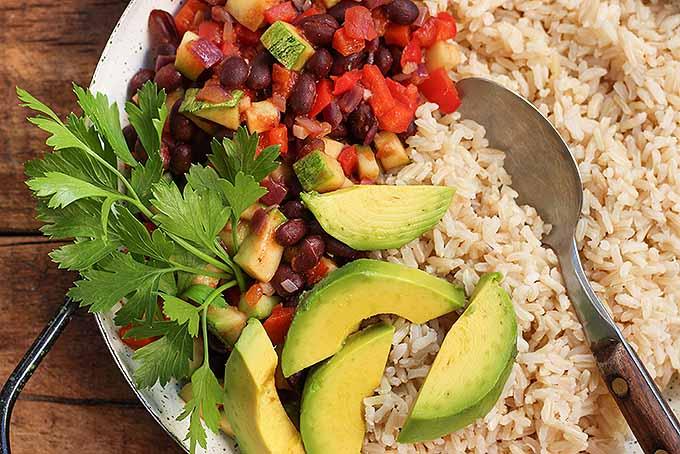 Healthy and quick vegetarian burrito bowl. | Foodal.com