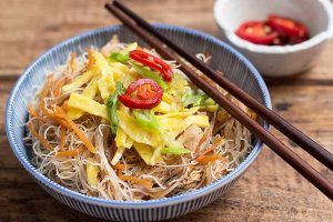 Fried Bee Hoon Noodles with Chicken and Veggies