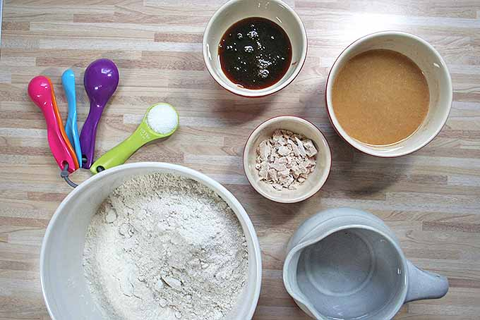 Gathering all the ingredients to make our homemade dark rye bread. | Foodal.com