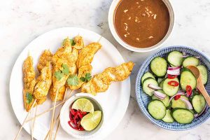 Spicy Peanut Chicken Satay with Cucumber Salad