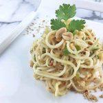 Plated spicy kohlrabi slaw with a fun cilantro and peanut garnish. | Foodal.com