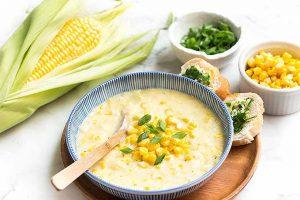 Summer Corn Chowder with Herb Garlic Bread