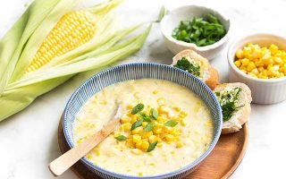 Corn chowder is a complete meal when paired with our fast and easy garlic bread! | Foodal.com