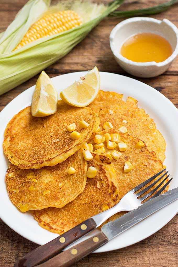 Treat yourself to a summer-inspired dish with these sweet cornmeal pancakes. We share the recipe: https://foodal.com/recipes/breakfast/cornmeal-pancakes-with-sweet-corn/