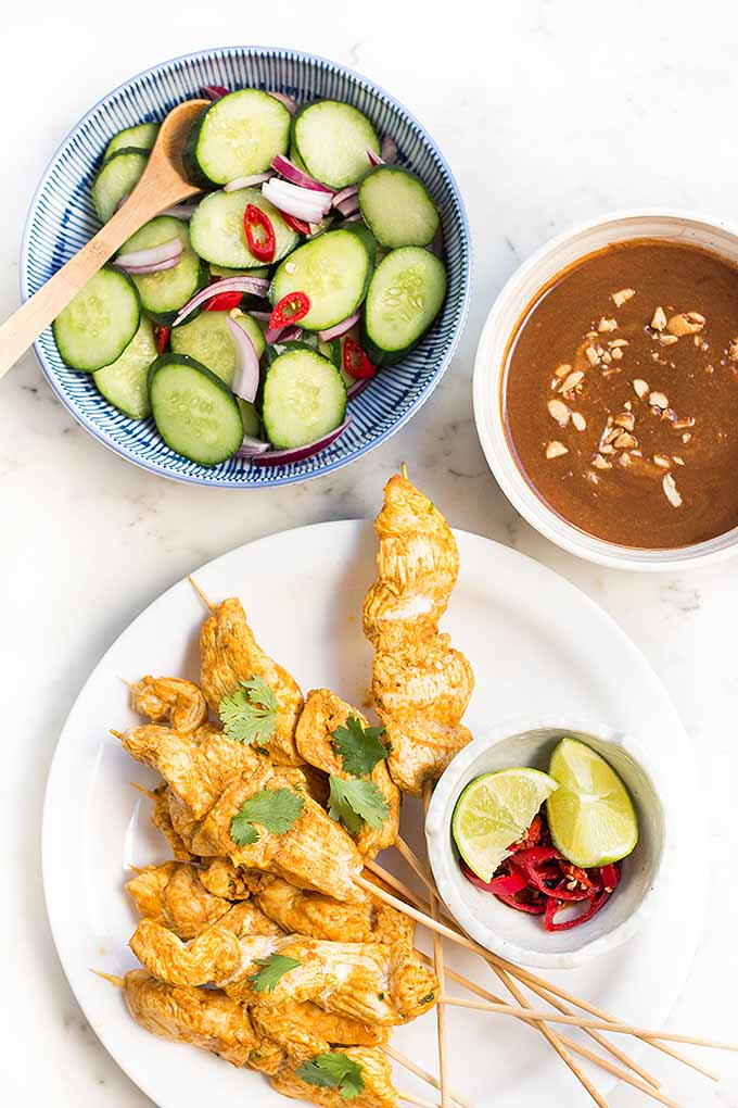 If you love handheld food, you must try our recipe for chicken satay with cucumber salad and peanut dipping sauce! We share this spicy recipe: https://foodal.com/recipes/poultry/chicken-satay/