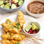 Spicy chicken skewers with peanut dipping sauce. | Foodal.com