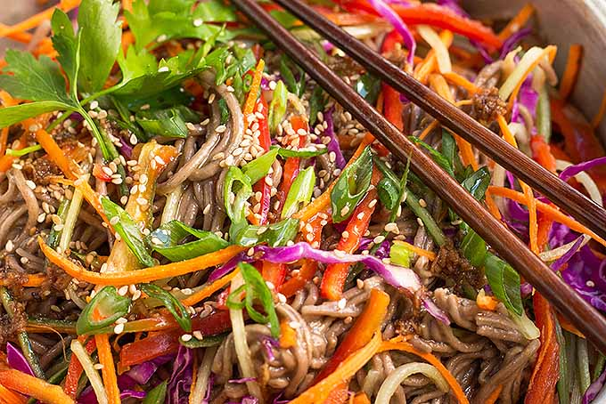 The flavors (and colors!) of our soba noodle salad with mixed veggies is irresistible! | Foodal.com