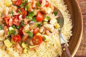 Couscous with Eggplant, Zucchini and Shrimp